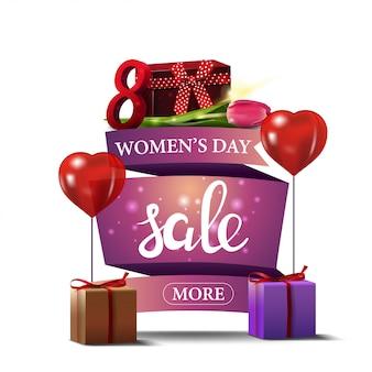 Bannière d'escompte rose moderne à la fête des femmes