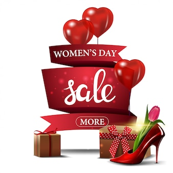 Bannière d'escompte rouge moderne à la journée de la femme