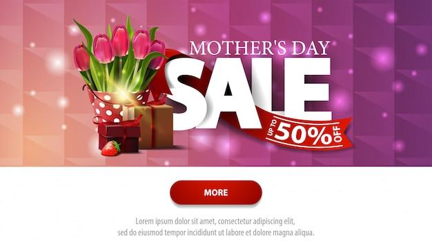 Bannière d'escompte violet vente fête des mères avec bouton