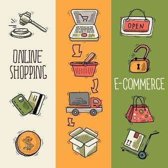 Bannière d'esquisse de conception de commerce électronique