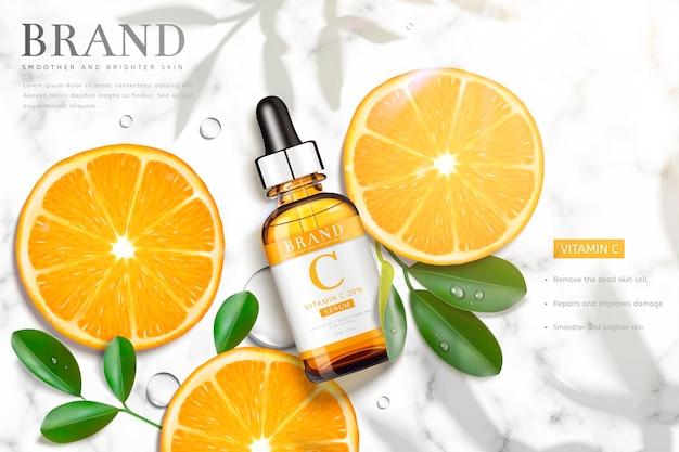 Bannière d'essence de vitamine c avec une bouteille d'orange et de gouttelettes en tranches portant sur une table en pierre de marbre, vue de dessus d'illustration 3d