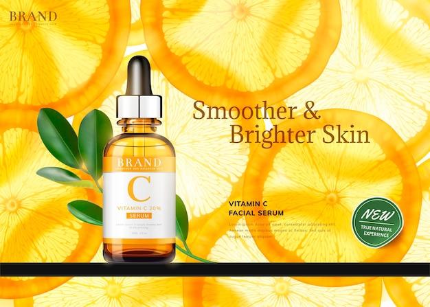 Bannière d'essence de vitamine c avec une bouteille d'orange et de gouttelettes en tranches translucides, illustration 3d