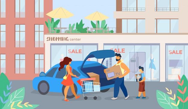 La bannière est une caricature de vente au centre commercial