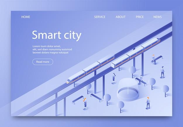 La bannière est un lettrage isométrique de smart city.