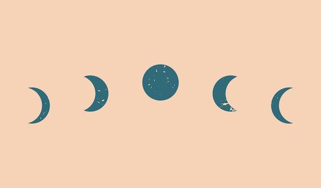 Bannière esthétique contemporaine abstraite de phases de lune à la mode, décor d'art mural, fond d'impression d'art minimaliste moderne du milieu du siècle, formes organiques, concept magique.