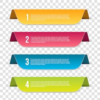 Bannière d'étape modèle infographie