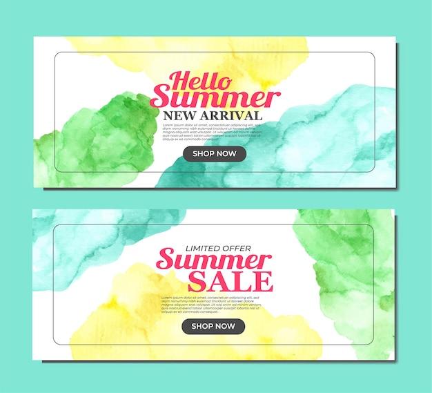 Bannière d'été avec aquarelle tache vibrante