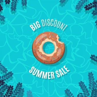 Bannière d'été avec un beignet gonflable saupoudré dans une piscine d'eau vive