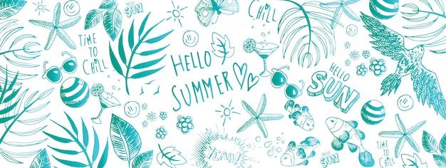 Bannière d'été doodles