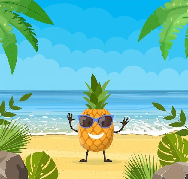 Bannière d'été drôle avec des personnages de fruits.
