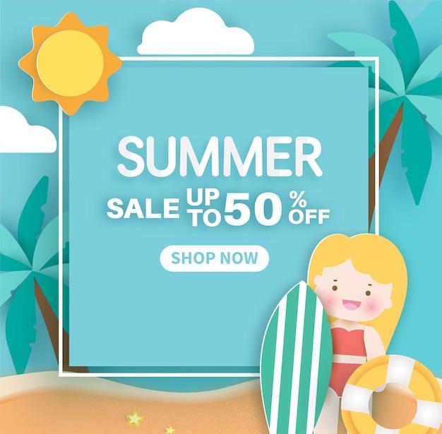Bannière d'été avec des éléments d'été en style papier découpé