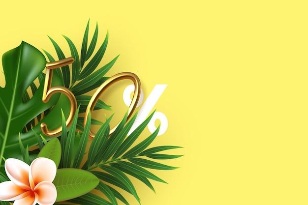 Bannière d'été avec des feuilles tropicales avec 50 pour cent d'or 3d