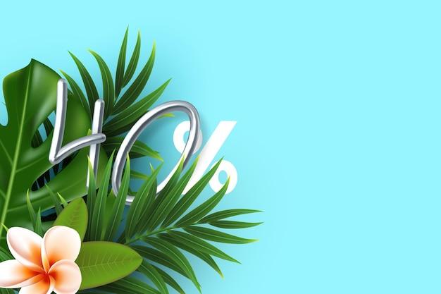 Bannière d'été avec des feuilles tropicales avec un signe de 40 pour cent en argent 3d.
