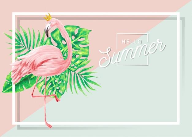 Bannière d'été de flamants roses et de feuilles tropicales.