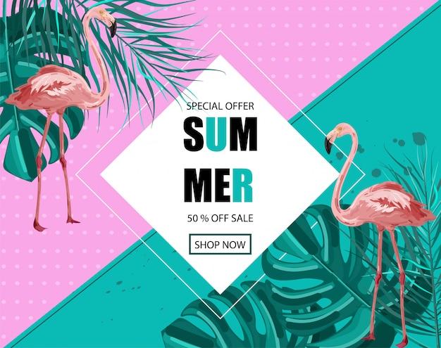 Bannière d'été flamingo