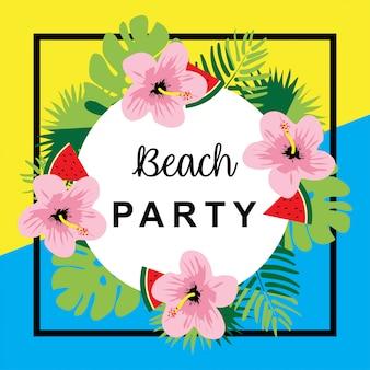 Bannière d'été avec des fleurs et de la pastèque