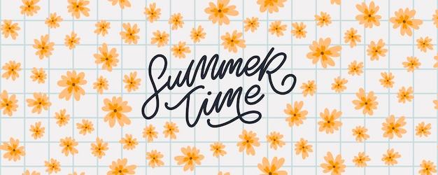 Bannière d'été avec des fleurs