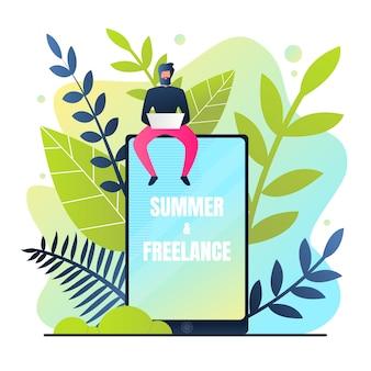 Bannière d'été et freelance