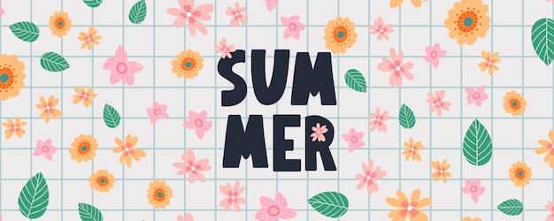 Bannière d'été avec lettre de fleurs