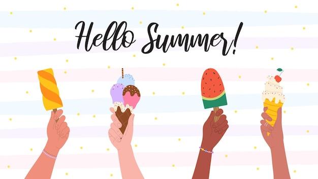 Bannière d'été avec les mains tenant la crème glacée