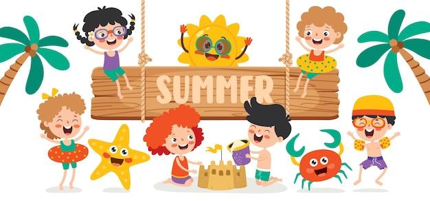 Bannière d'été plat coloré