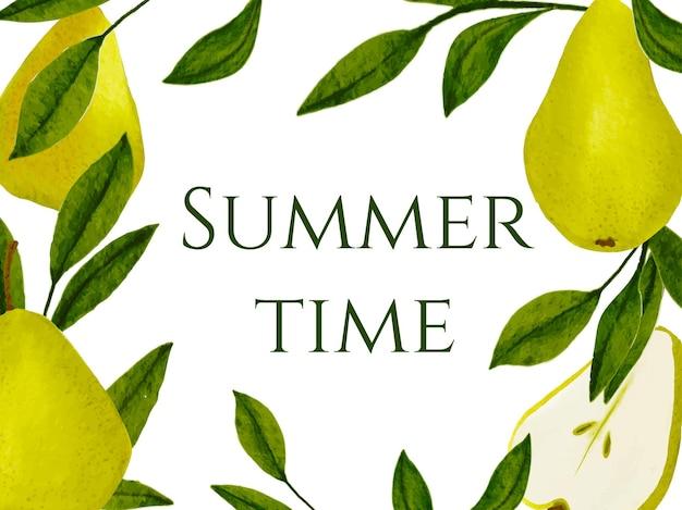 Bannière d'été avec poire aquarelle et feuilles