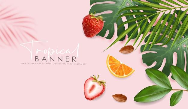 Bannière d'été réaliste avec des fruits frais et des feuilles tropicales, bonjour l'été, carte tropicale, fraise, noix d'amande et orange, illustration