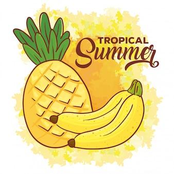 Bannière d'été tropical, avec des fruits de banane et d'ananas