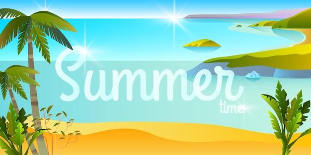 Bannière d'été tropical horizontal plage paysage voyage fond océan île palmiers