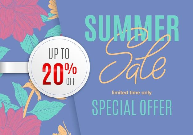 Bannière d'été de vente avec croquis à l'encre de fleurs et autocollant rond blanc 20 pour cent de réduction