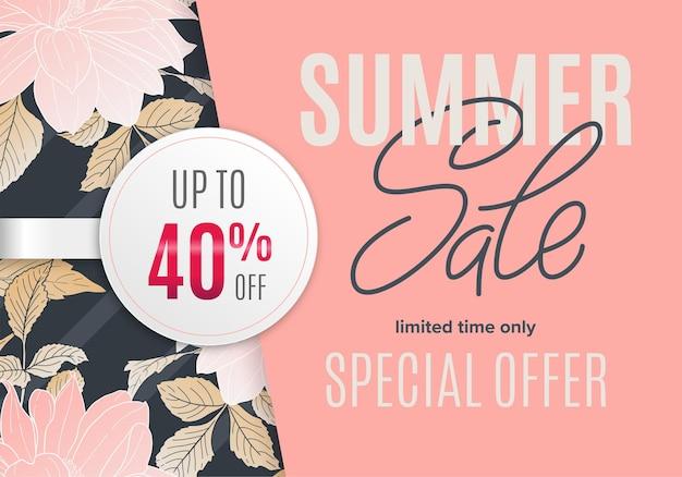 Bannière d'été de vente avec croquis à l'encre de fleurs et autocollant rond blanc 40 pour cent de réduction