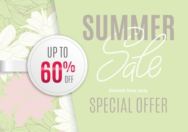 Bannière d'été de vente avec croquis à l'encre de fleurs et autocollant rond blanc 60 pour cent de réduction