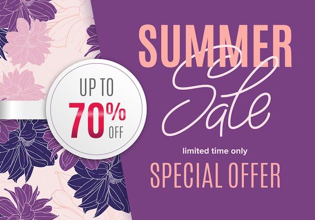 Bannière d'été de vente avec croquis à l'encre de fleurs et autocollant rond blanc 70 pour cent de réduction