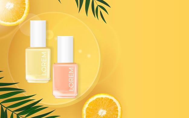 Bannière d'été de vernis à ongles. modèle de produit cosmétique