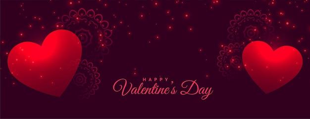 Bannière étincelante de beaux coeurs saint valentin