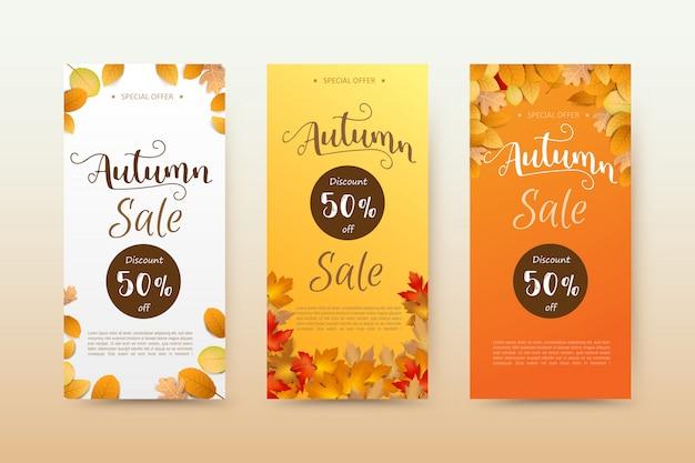 Bannière d'étiquette d'automne