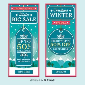 Bannière étiquette plate vente hiver