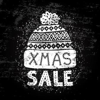 Bannière ou étiquette spéciale hiver avec bonnet de laine tricoté