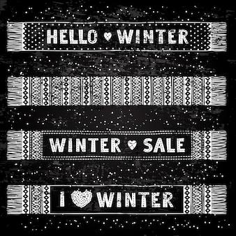 Bannière ou étiquette spéciale hiver avec écharpes en laine tricotées