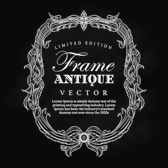 Bannière d'étiquette tableau noir vintage cadre antique dessiné élégant
