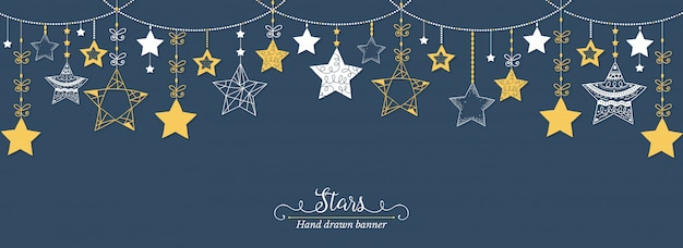 Bannière étoiles dessinées à la main
