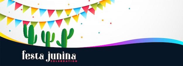 Bannière d'événement festa junina avec plante de cactus