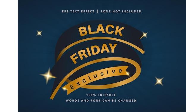 Bannière exclusive black friday avec effet de texte modifiable