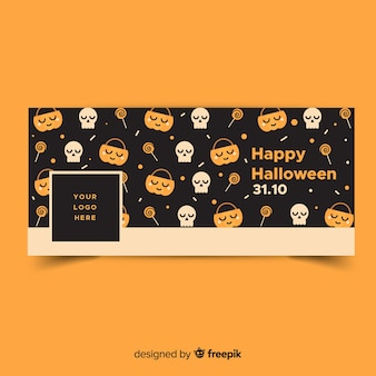 Bannière facebook moderne avec un design halloween