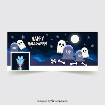 Bannière facebook moderne pour halloween
