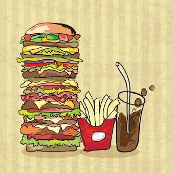 Bannière avec fast food hamburger et frites avec style colavintage