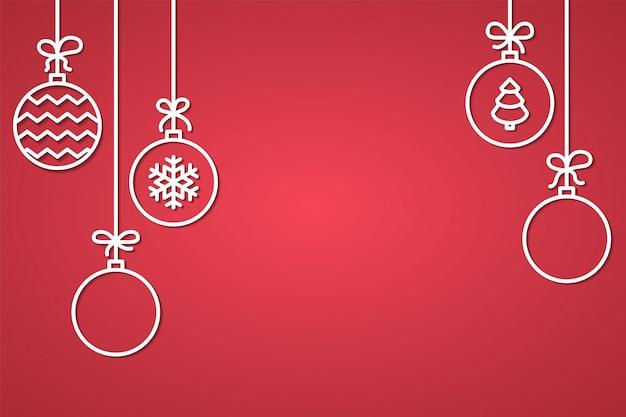 Bannière de félicitation de noël et du nouvel an avec des boules d'arbres décoratifs de ligne