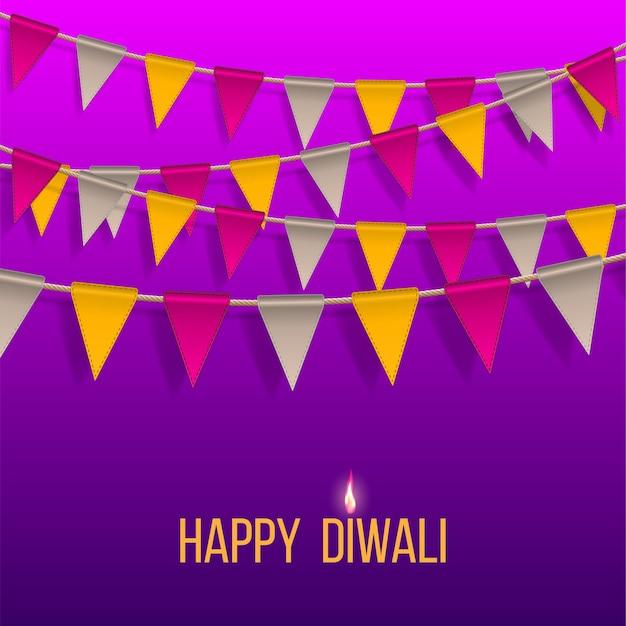 Bannière de félicitations avec des drapeaux suspendus sur happy diwali holiday pour le festival des lumières de l'inde.