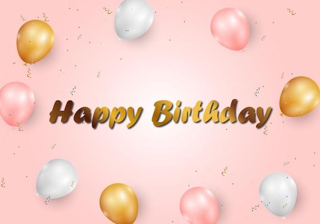 Bannière de félicitations de joyeux anniversaire avec différents ballons et fond de confettis de paillettes. fond de bannière abstrait. illustration vectorielle.
