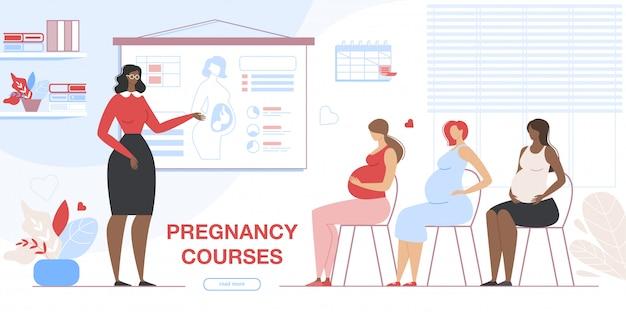 Bannière des femmes enceintes visitant des cours de grossesse